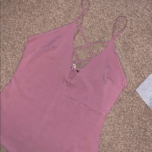 Pink lace front tank top